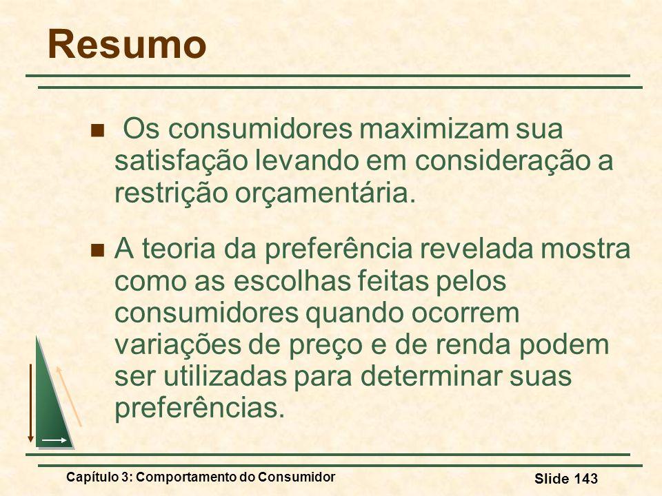 Capítulo 3: Comportamento do Consumidor Slide 143 Resumo Os consumidores maximizam sua satisfação levando em consideração a restrição orçamentária. A