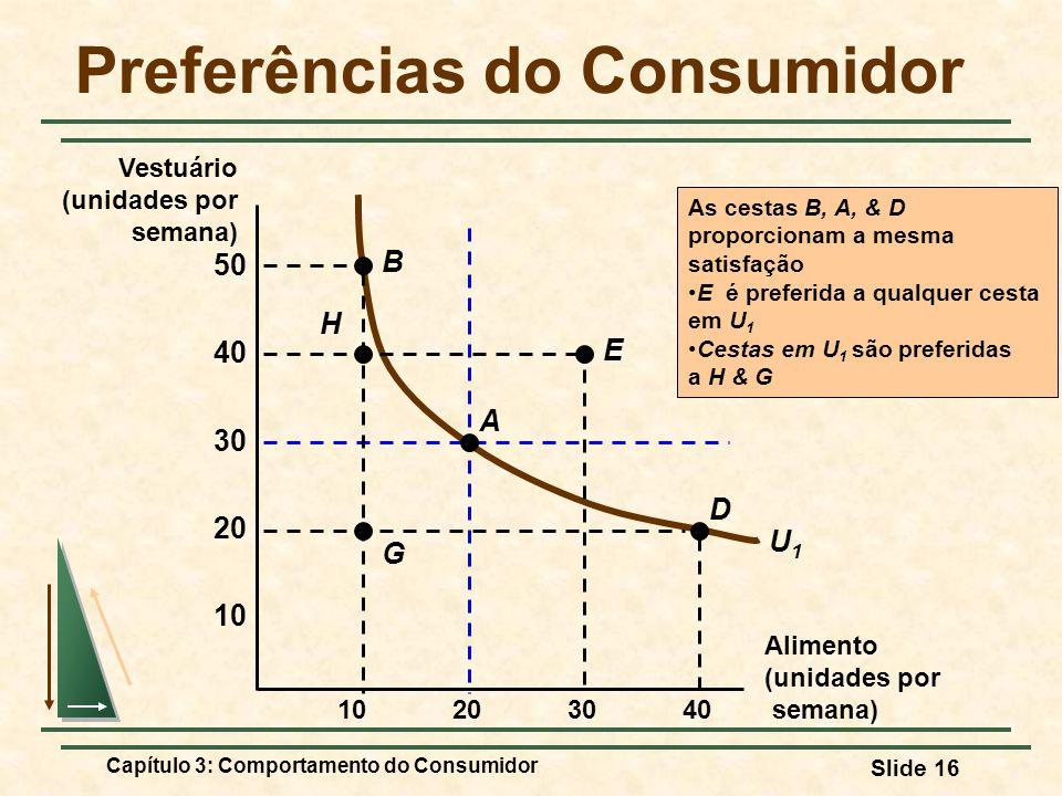 Capítulo 3: Comportamento do Consumidor Slide 16 U1U1 As cestas B, A, & D proporcionam a mesma satisfação E é preferida a qualquer cesta em U 1 Cestas