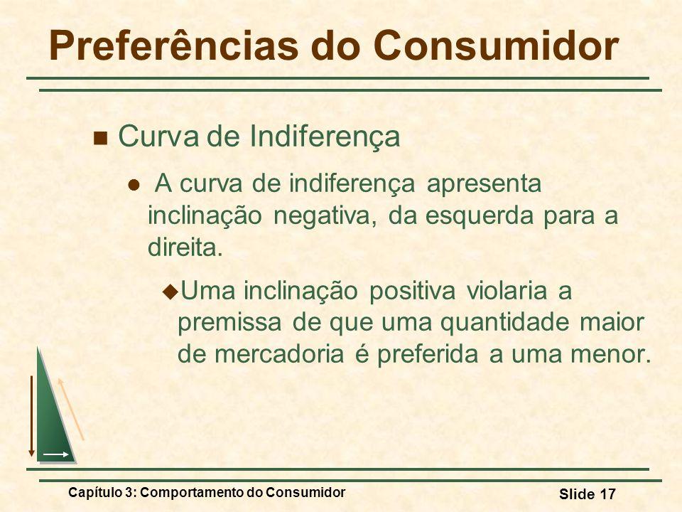 Capítulo 3: Comportamento do Consumidor Slide 17 Preferências do Consumidor Curva de Indiferença A curva de indiferença apresenta inclinação negativa,