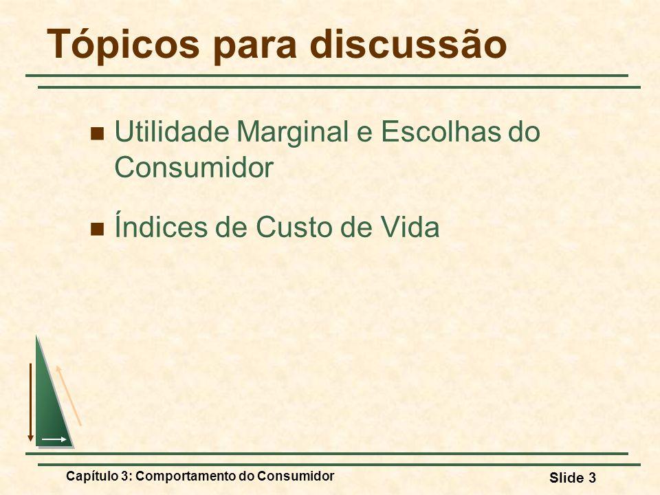 Capítulo 3: Comportamento do Consumidor Slide 3 Tópicos para discussão Utilidade Marginal e Escolhas do Consumidor Índices de Custo de Vida
