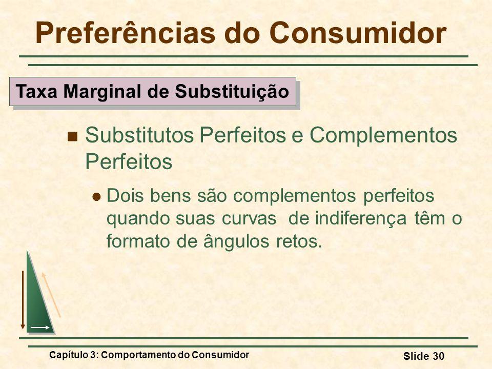 Capítulo 3: Comportamento do Consumidor Slide 30 Preferências do Consumidor Substitutos Perfeitos e Complementos Perfeitos Dois bens são complementos