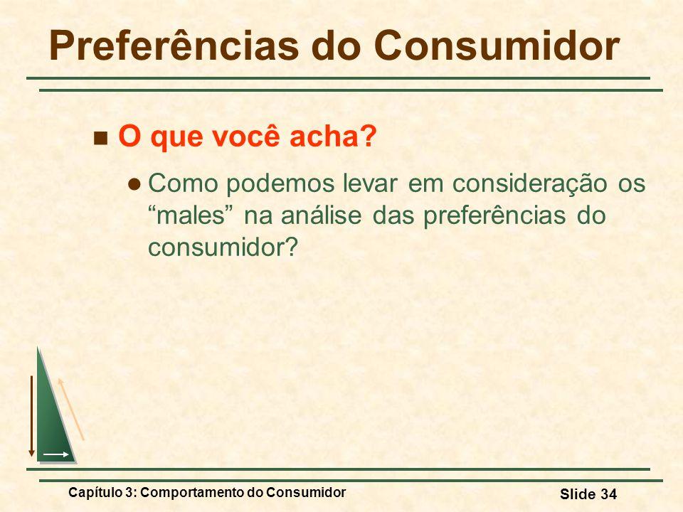 Capítulo 3: Comportamento do Consumidor Slide 34 Preferências do Consumidor O que você acha? Como podemos levar em consideração os males na análise da