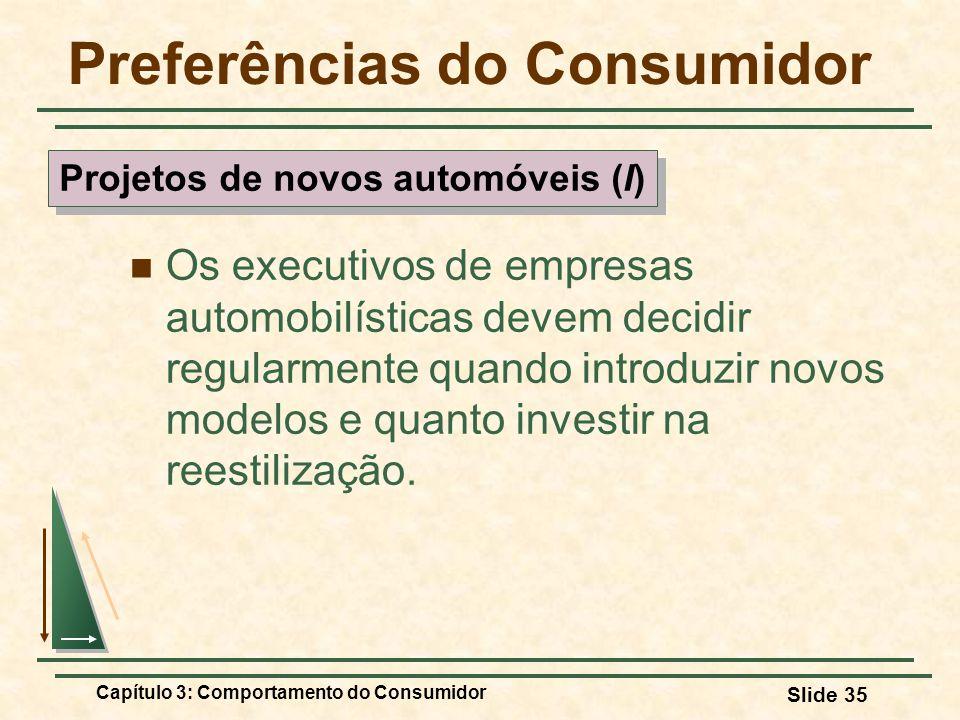 Capítulo 3: Comportamento do Consumidor Slide 35 Preferências do Consumidor Os executivos de empresas automobilísticas devem decidir regularmente quan