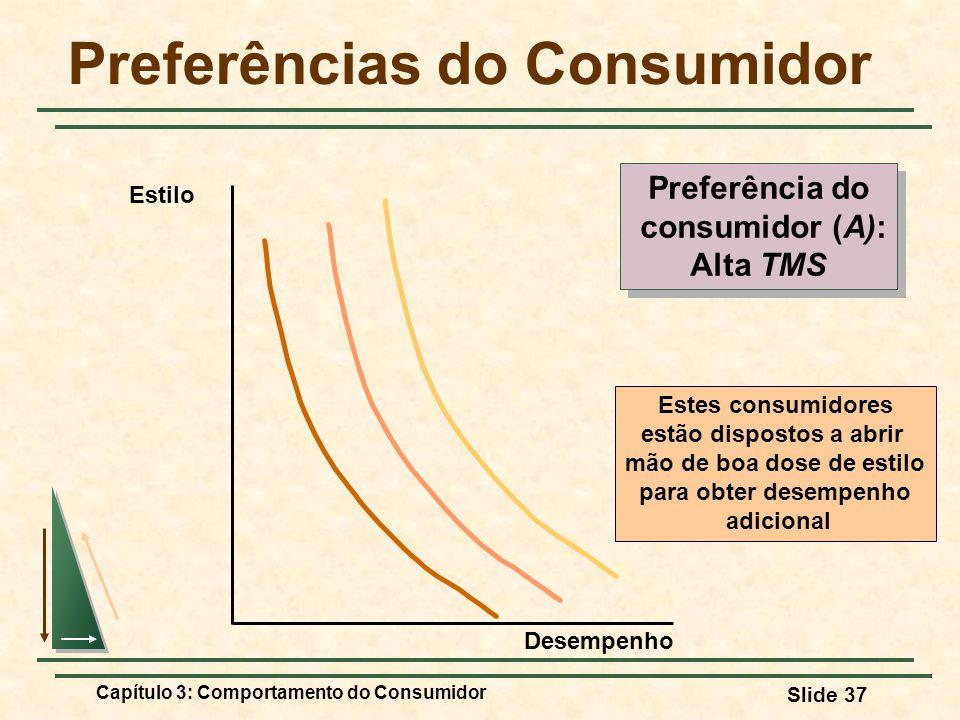 Capítulo 3: Comportamento do Consumidor Slide 37 Preferências do Consumidor Estes consumidores estão dispostos a abrir mão de boa dose de estilo para