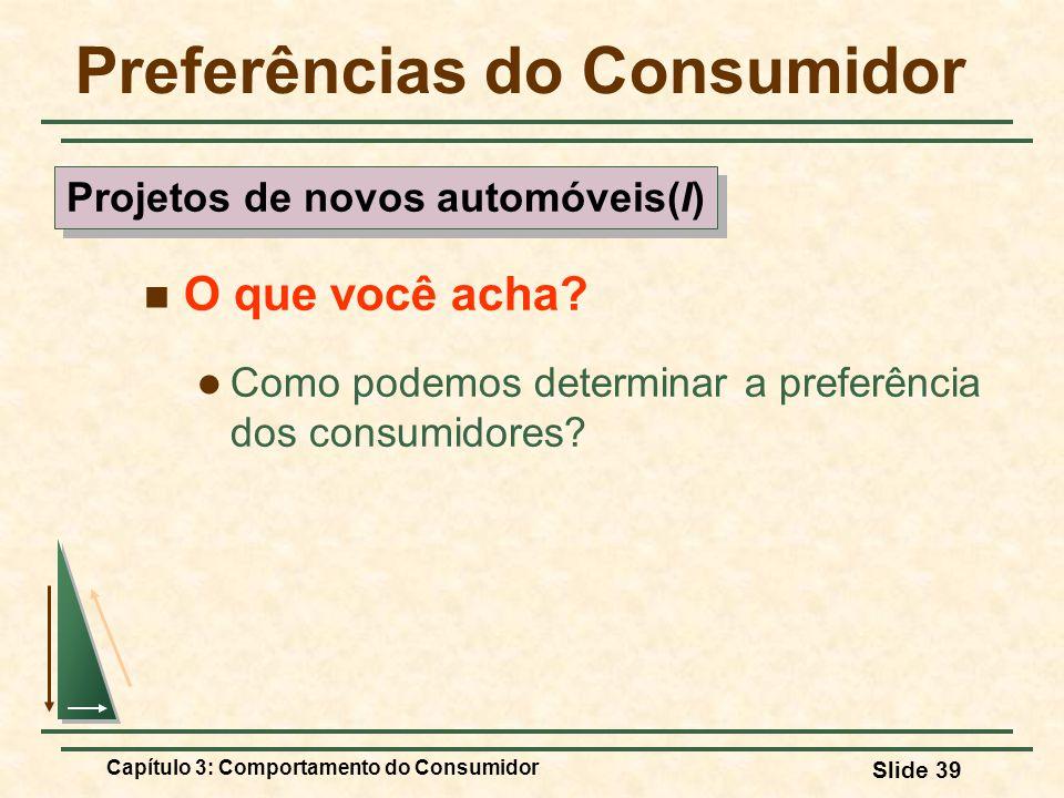 Capítulo 3: Comportamento do Consumidor Slide 39 Preferências do Consumidor O que você acha? Como podemos determinar a preferência dos consumidores? P
