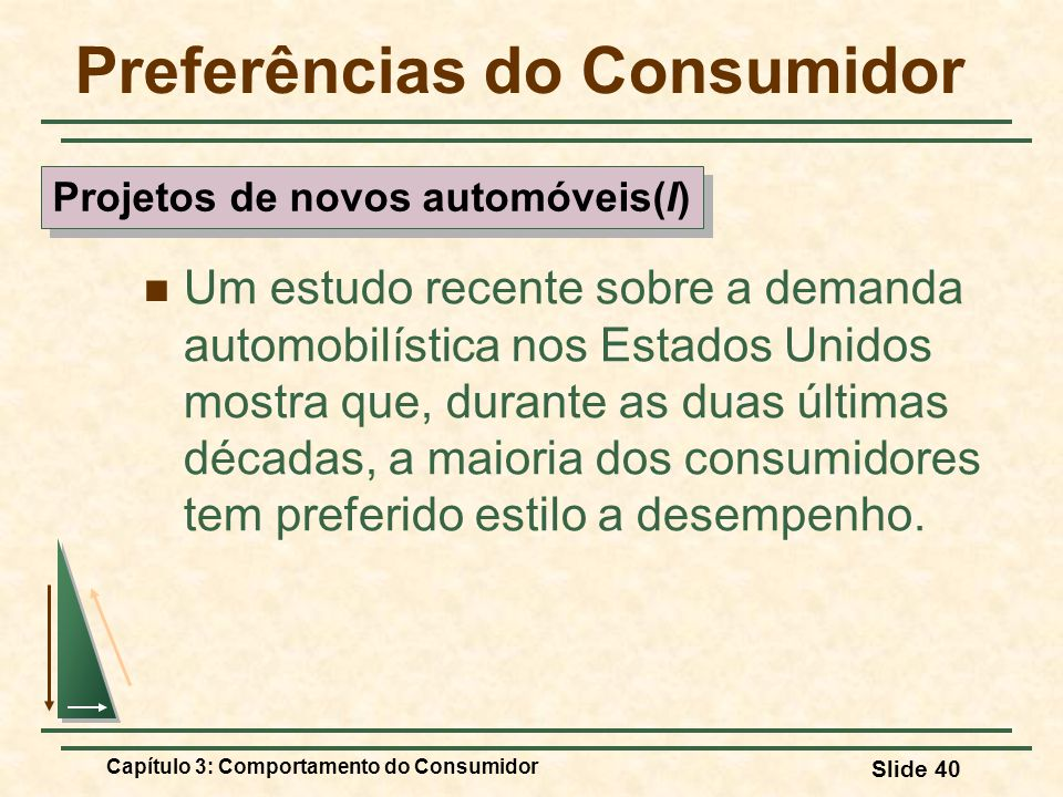 Capítulo 3: Comportamento do Consumidor Slide 40 Preferências do Consumidor Um estudo recente sobre a demanda automobilística nos Estados Unidos mostr