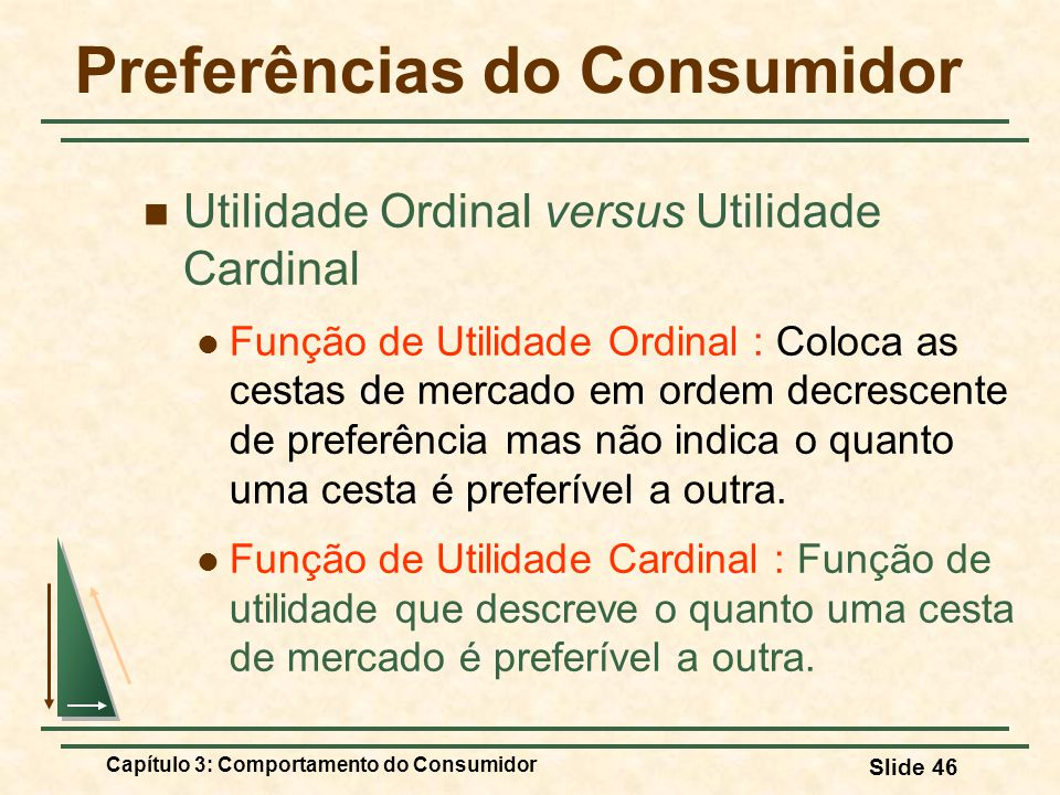 Capítulo 3: Comportamento do Consumidor Slide 46 Preferências do Consumidor Utilidade Ordinal versus Utilidade Cardinal Função de Utilidade Ordinal :