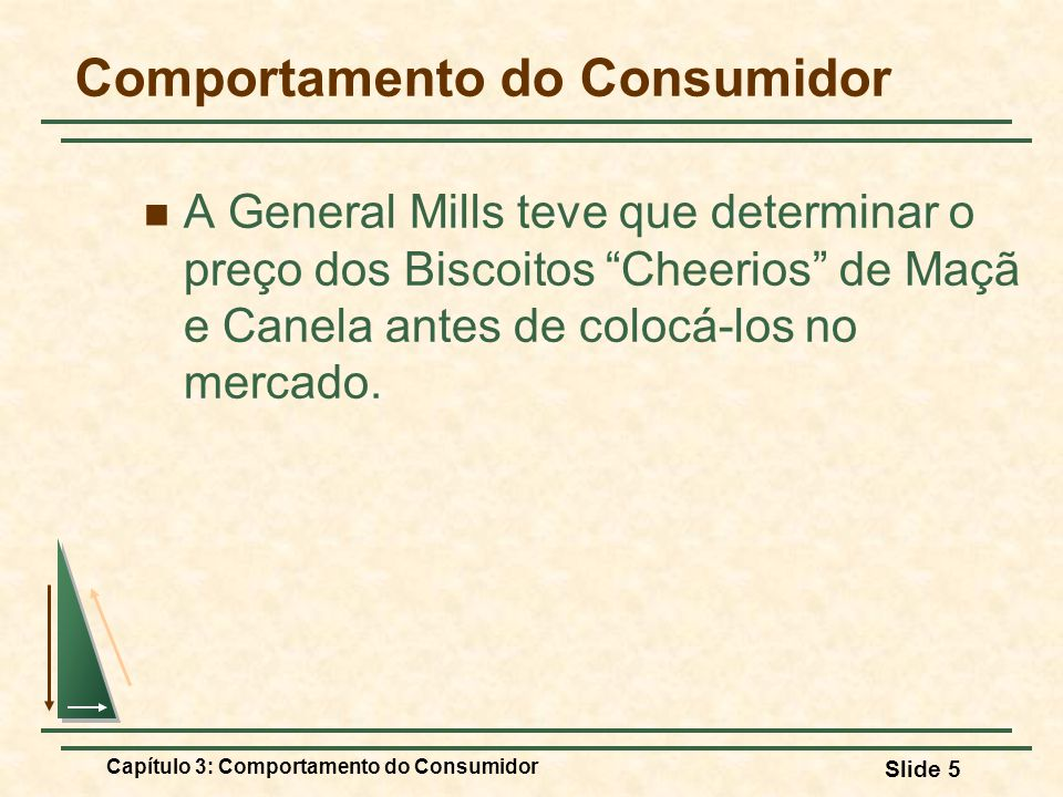 Capítulo 3: Comportamento do Consumidor Slide 5 Comportamento do Consumidor A General Mills teve que determinar o preço dos Biscoitos Cheerios de Maçã
