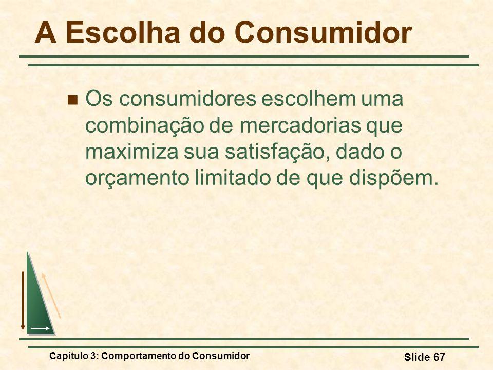 Capítulo 3: Comportamento do Consumidor Slide 67 A Escolha do Consumidor Os consumidores escolhem uma combinação de mercadorias que maximiza sua satis