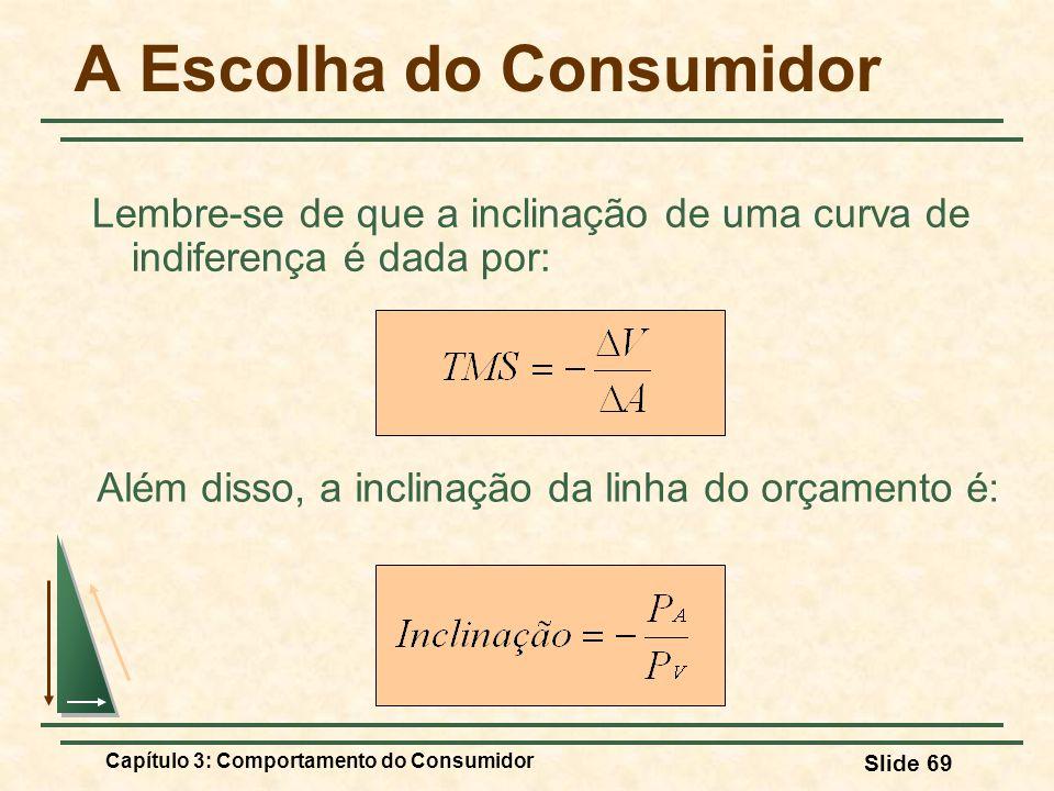 Capítulo 3: Comportamento do Consumidor Slide 69 Lembre-se de que a inclinação de uma curva de indiferença é dada por: A Escolha do Consumidor Além di