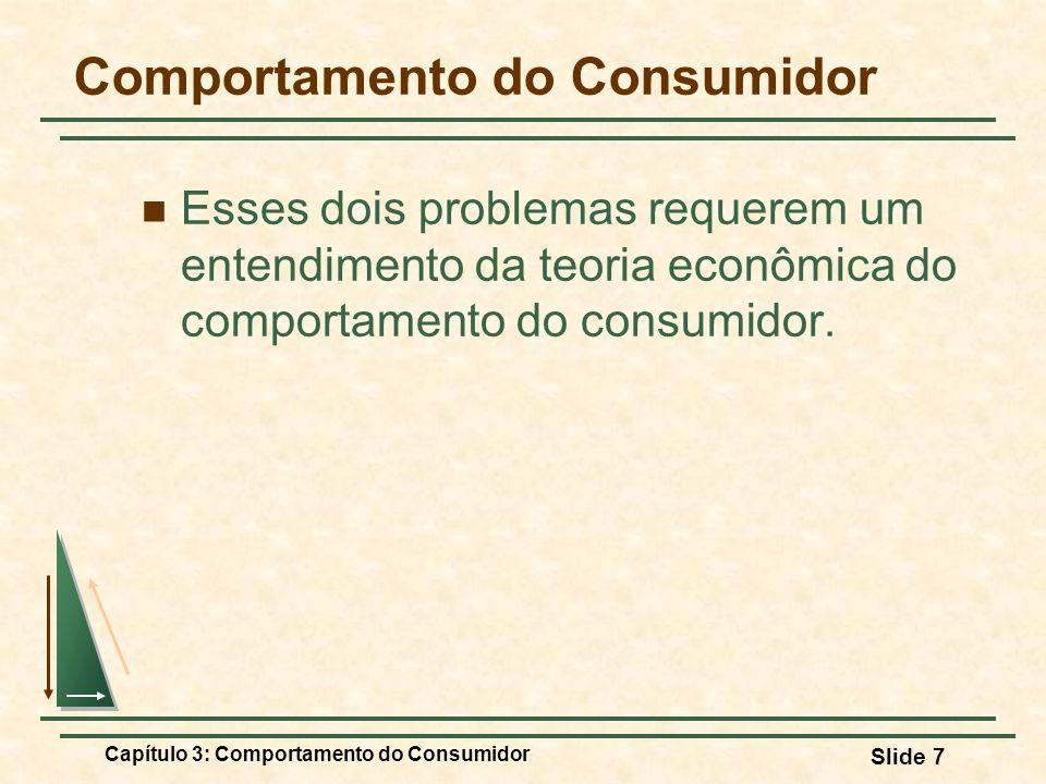 Capítulo 3: Comportamento do Consumidor Slide 7 Comportamento do Consumidor Esses dois problemas requerem um entendimento da teoria econômica do compo
