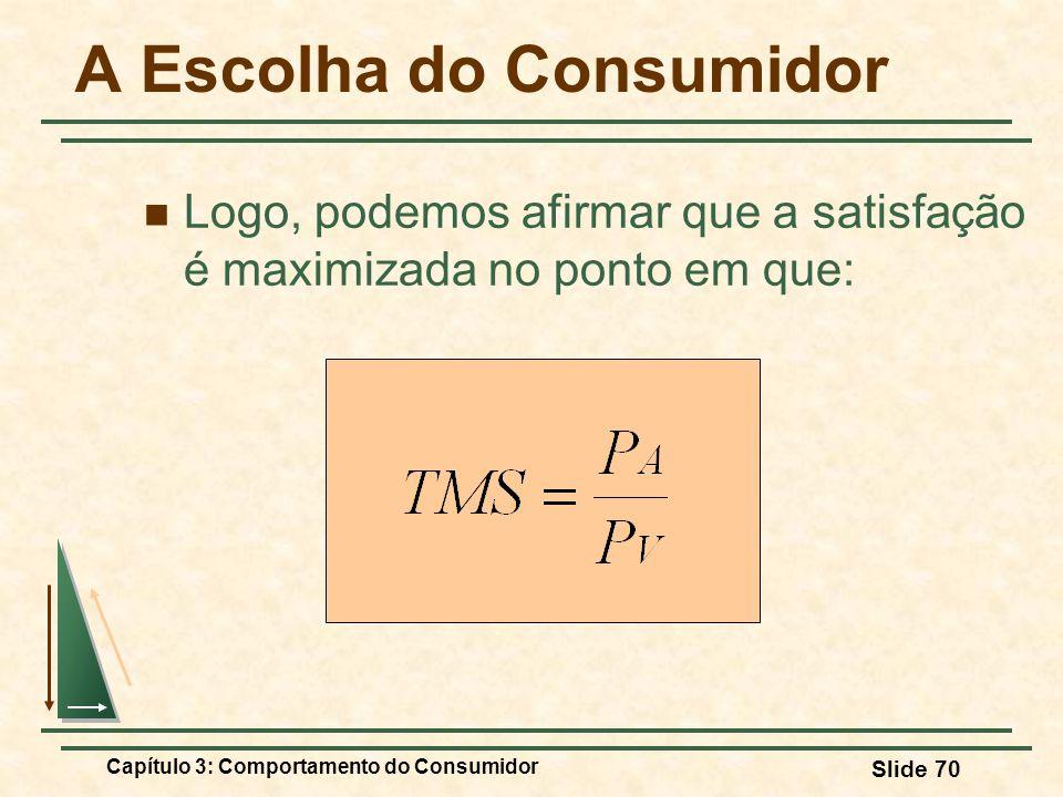 Capítulo 3: Comportamento do Consumidor Slide 70 A Escolha do Consumidor Logo, podemos afirmar que a satisfação é maximizada no ponto em que: