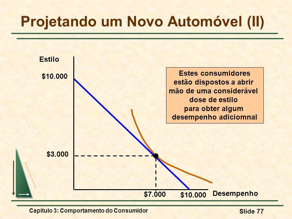 Capítulo 3: Comportamento do Consumidor Slide 77 Projetando um Novo Automóvel (II) Estilo Desempenho $10.000 $3.000 Estes consumidores estão dispostos