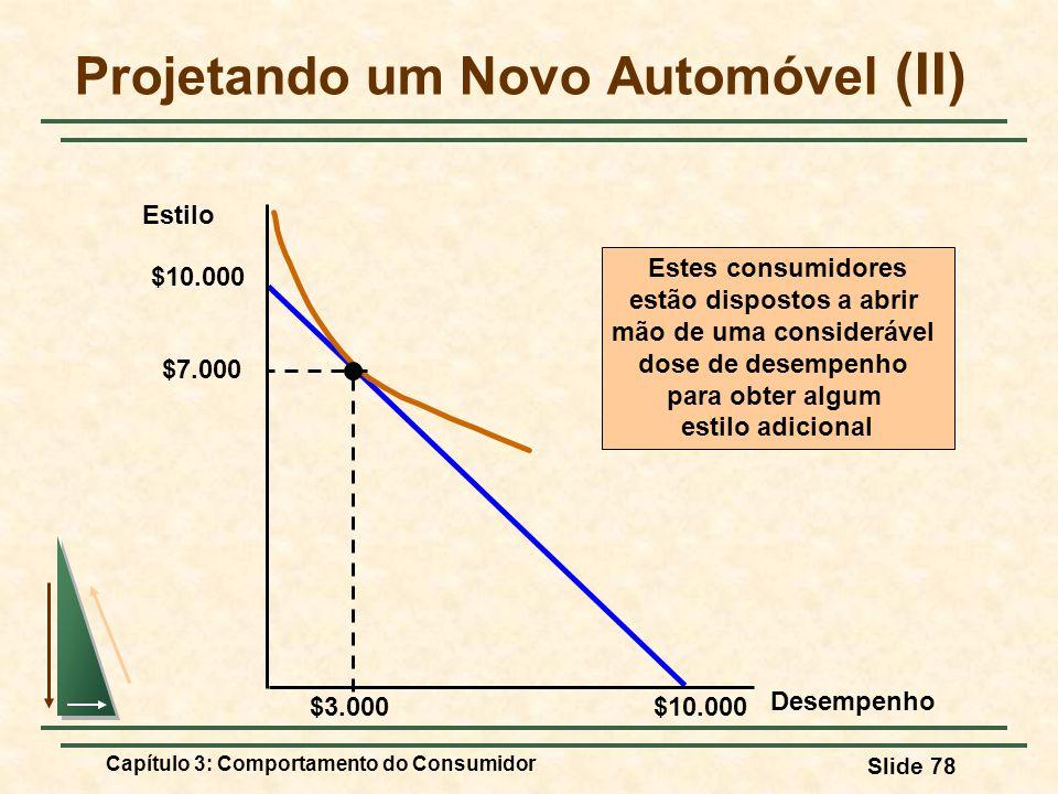 Capítulo 3: Comportamento do Consumidor Slide 78 Projetando um Novo Automóvel (II) Estilo $10.000 $3.000 Estes consumidores estão dispostos a abrir mã