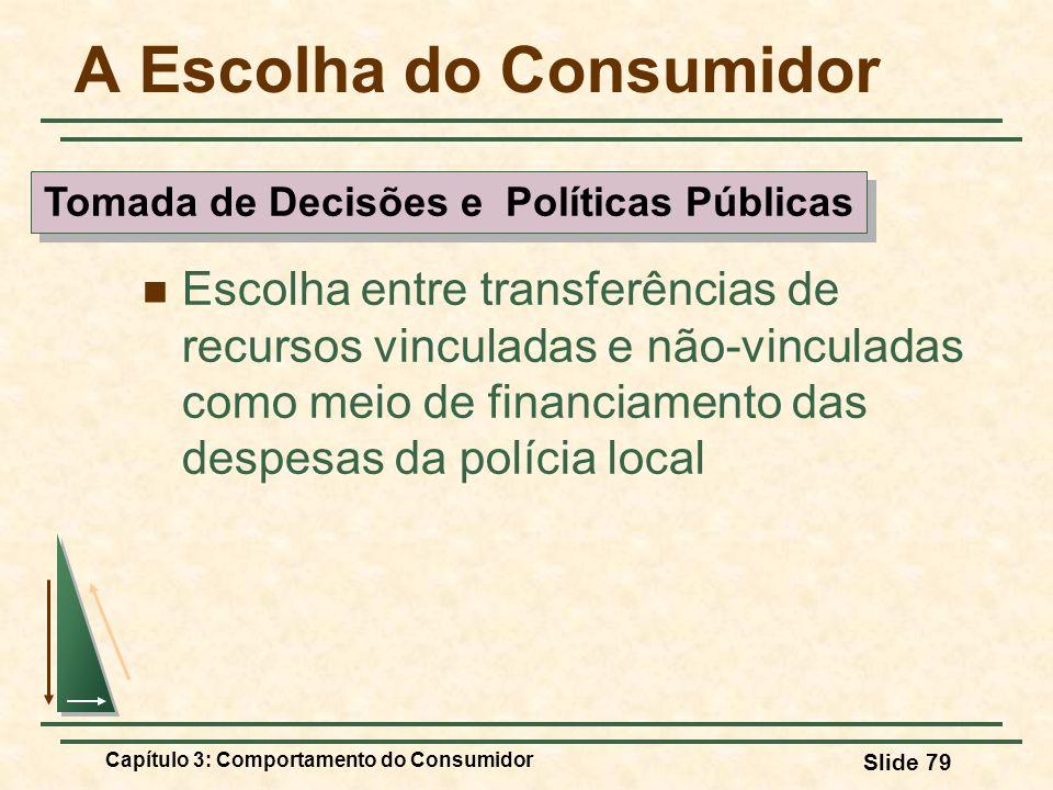 Capítulo 3: Comportamento do Consumidor Slide 79 A Escolha do Consumidor Escolha entre transferências de recursos vinculadas e não-vinculadas como mei