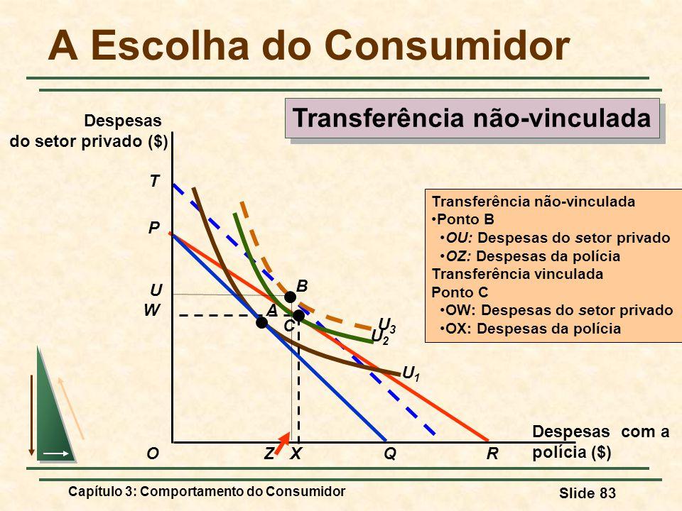 Capítulo 3: Comportamento do Consumidor Slide 83 T U3U3 U1U1 Transferência não-vinculada Ponto B OU: Despesas do setor privado OZ: Despesas da polícia
