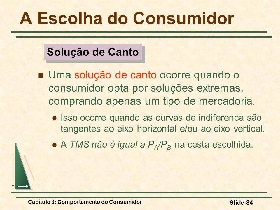 Capítulo 3: Comportamento do Consumidor Slide 84 A Escolha do Consumidor Uma solução de canto ocorre quando o consumidor opta por soluções extremas, c