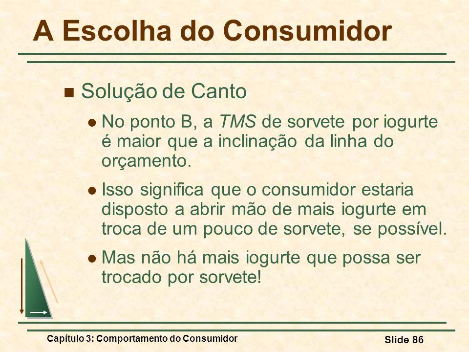 Capítulo 3: Comportamento do Consumidor Slide 86 A Escolha do Consumidor Solução de Canto No ponto B, a TMS de sorvete por iogurte é maior que a incli