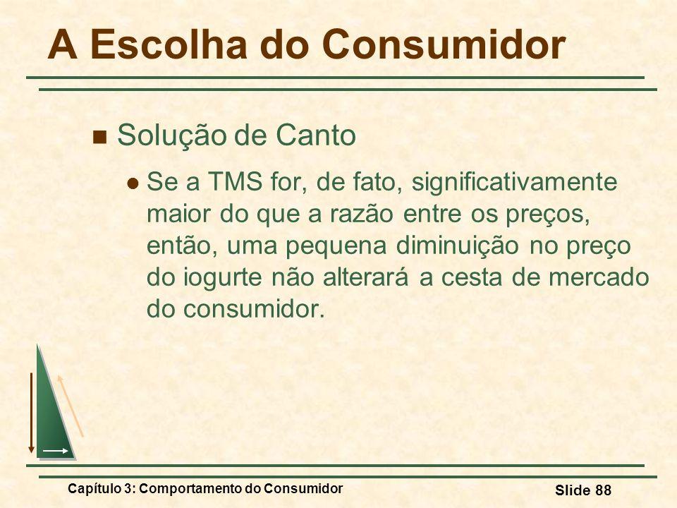 Capítulo 3: Comportamento do Consumidor Slide 88 A Escolha do Consumidor Solução de Canto Se a TMS for, de fato, significativamente maior do que a raz