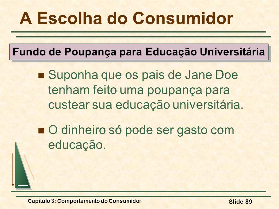 Capítulo 3: Comportamento do Consumidor Slide 89 A Escolha do Consumidor Suponha que os pais de Jane Doe tenham feito uma poupança para custear sua ed