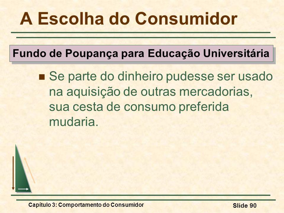 Capítulo 3: Comportamento do Consumidor Slide 90 A Escolha do Consumidor Se parte do dinheiro pudesse ser usado na aquisição de outras mercadorias, su