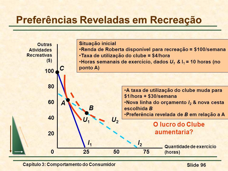 Capítulo 3: Comportamento do Consumidor Slide 96 Quantidade de exercício (horas) Preferências Reveladas em Recreação Outras Atividades Recreativas ($)