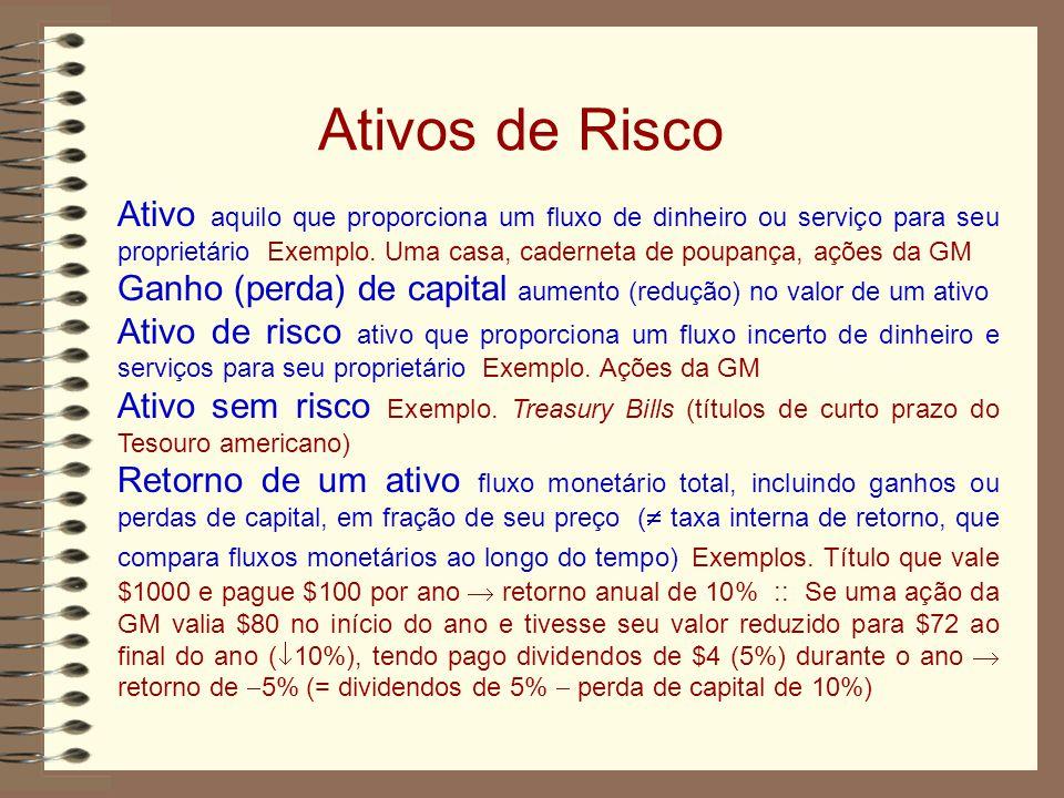 Ativos de Risco Ativo aquilo que proporciona um fluxo de dinheiro ou serviço para seu proprietário Exemplo.