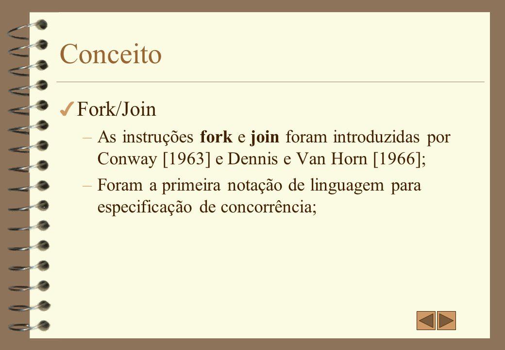 Fork 4 A instrução fork L produz duas execuções concorrentes (fluxo, tarefa) num programa.