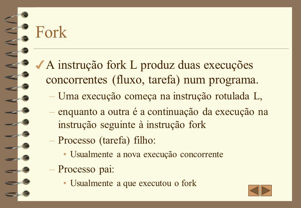 Fork 4 Para ilustrar este conceito, considere o seguinte segmento de programa: C1; fork L;// L é um rótulo C2;.......