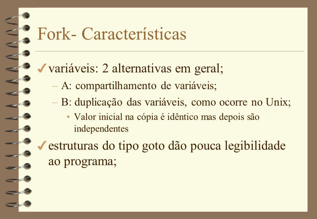 Fork - exemplos 4 SO Unix, Linux –Formato: process_id fork(); –process_id: se pai recebe id do filho Se filho, recebe zero –Ambos os processos continuam a execução na instrução seguinte ao fork –Duplicação de variáveis