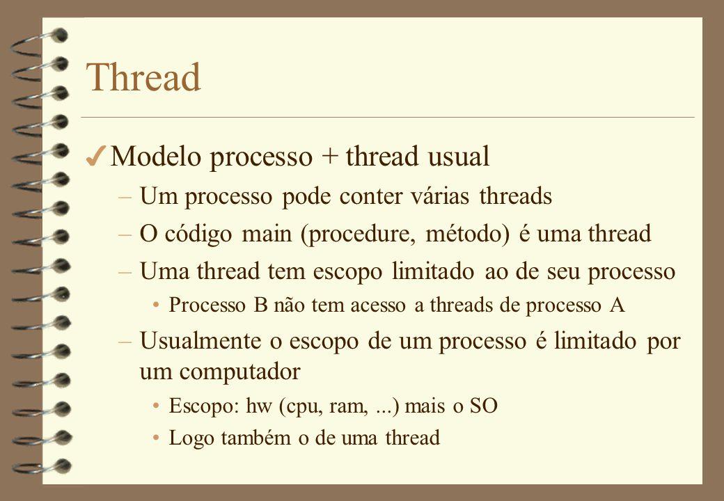 Thread 4 Criação –Primitiva (procedure, método) create_thread –Argumentos Procedure que contém o código da thread Argumento da procedure –Retorno Identificador da thread –Semântica Similar à do fork Thread atual continua execução concorrentemente à nova