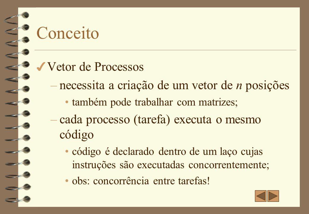 Vetor de processos - Exemplo 1 4 Declaração do vetor: var a[1:n]: real;// sintaxe SR 4 Código: process inicializa (i: 1 to n) a[i] := 0 4 Código de cada processo: a[i] := 0 4 Função geral: inicializar o vetor a de forma concorrente