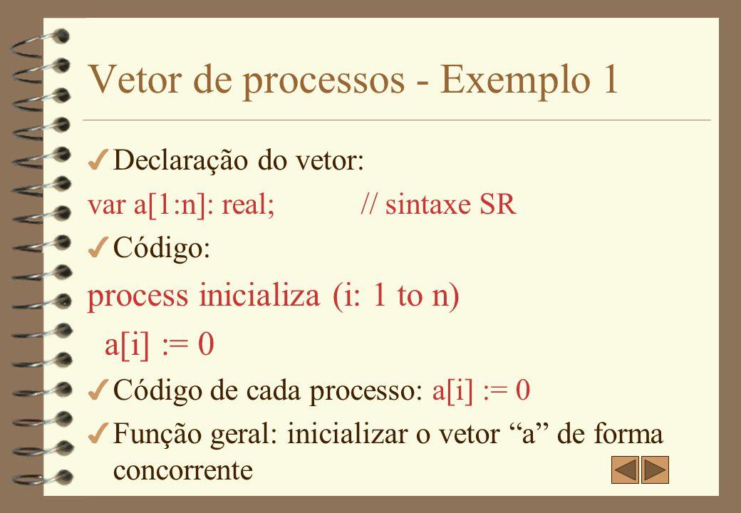 Vetor de processos - Exemplo 1 4 Equivale a fa i := 1 to n a[i] := 0 af// sintaxe SR ou for (i := 1 to n) {a[i] := 0}