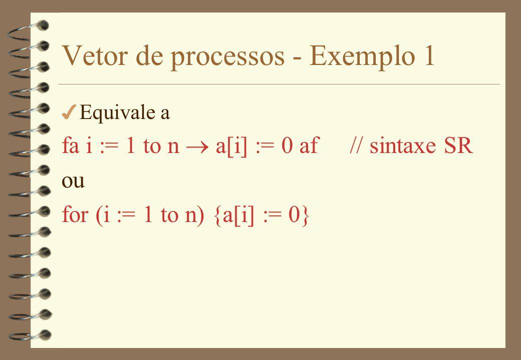Vetor de processos - Exemplo 2 4 Declaração das matrizes: (sintaxe SR) var a[1:n,1:n], b[1:n,1:n]: real; var c[1:n, 1:n]: real := ( [n], ([n] 0.0)) 4 Inicialização das matrizes: fa i:= 1 to n, j:= 1 to n read(filea, a[i,j]); read(fileb, b[i,j]) af