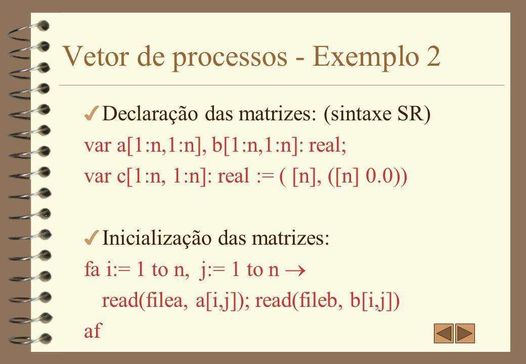 Vetor de processos - Exemplo 2 (cont.) 4 Laço de execução: process compute (i := 1 to n, j := 1 to n) fa k:= 1 to n c[i,j]) := c[i,j] + a[i,k]*b[k,j] af 4 Comentários: –criação de n 2 processos (2 laços de ordem n) –matrizes são inicializadas seqüencialmente –produtos são computados em paralelo