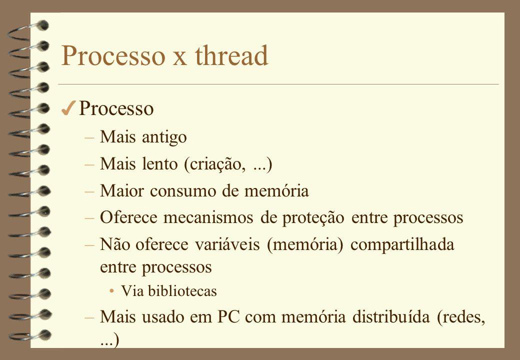 Processo x thread 4 Thread –Em geral o inverso de processo P.ex.: mais rápido –Mais usado em PC com memória compartilhada (1 computador)