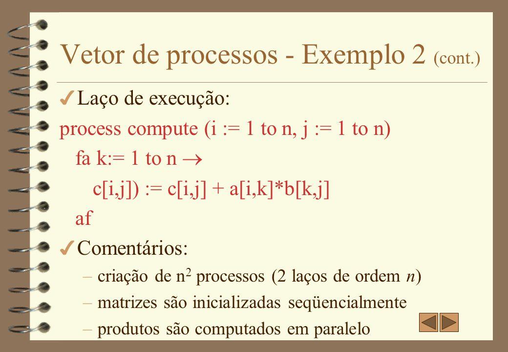 Vetor de processos - caso 4 Biblioteca OpenMP –Padronizada –Para programação paralela –Para certos tipos de programas –Exige compilador especial –Adicionada às linguagens C, Fortran,...