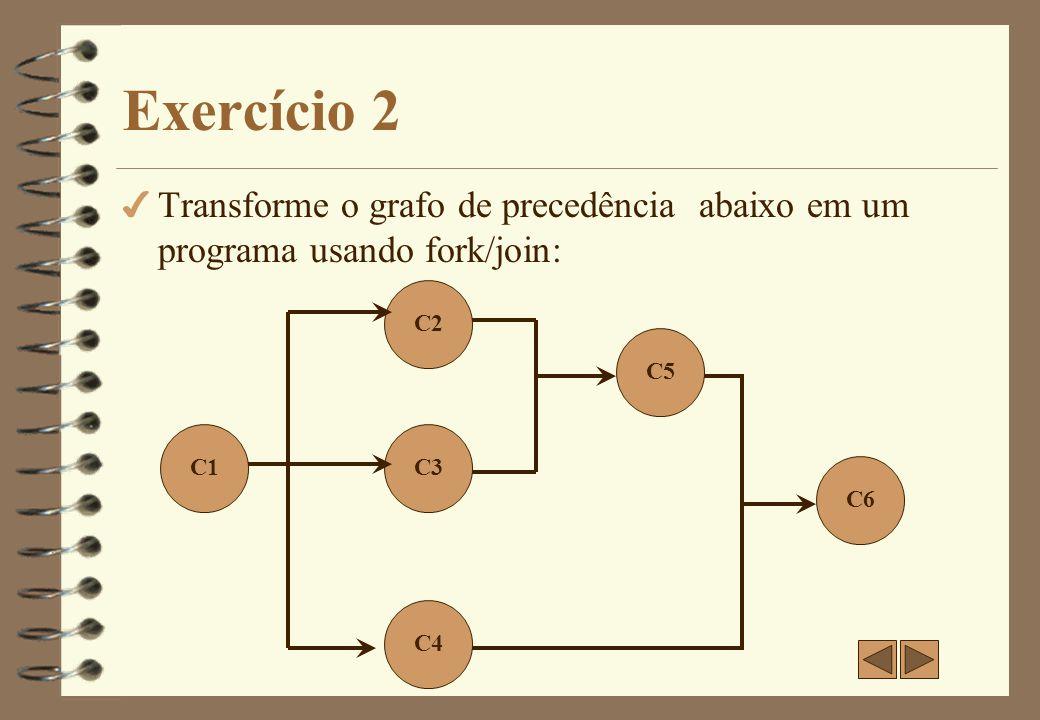 Exercício 2-a 4 Transforme o grafo de precedência abaixo em um programa usando fork/join: C1 C2 C3 C4 C8 C5 C6 C7