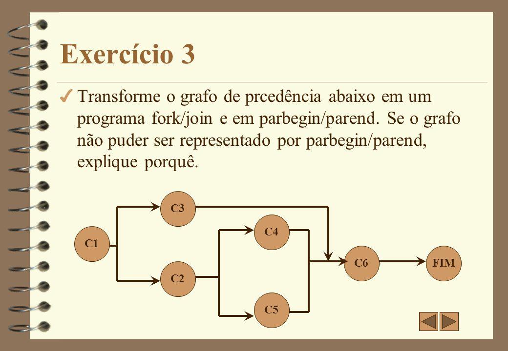 Exercício 3 - Resposta C1; fork LI3; C2; fork LI5; C4; LJ5: join; LJ3: join; C6; LC3: C3; goto LJ3; LI5: C5; goto LJ5; Transformação do grafo de precedência em um programa utilizando instruções fork/join