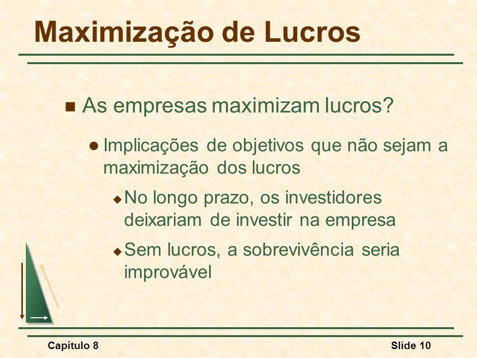 Capítulo 8Slide 10 Maximização de Lucros As empresas maximizam lucros.