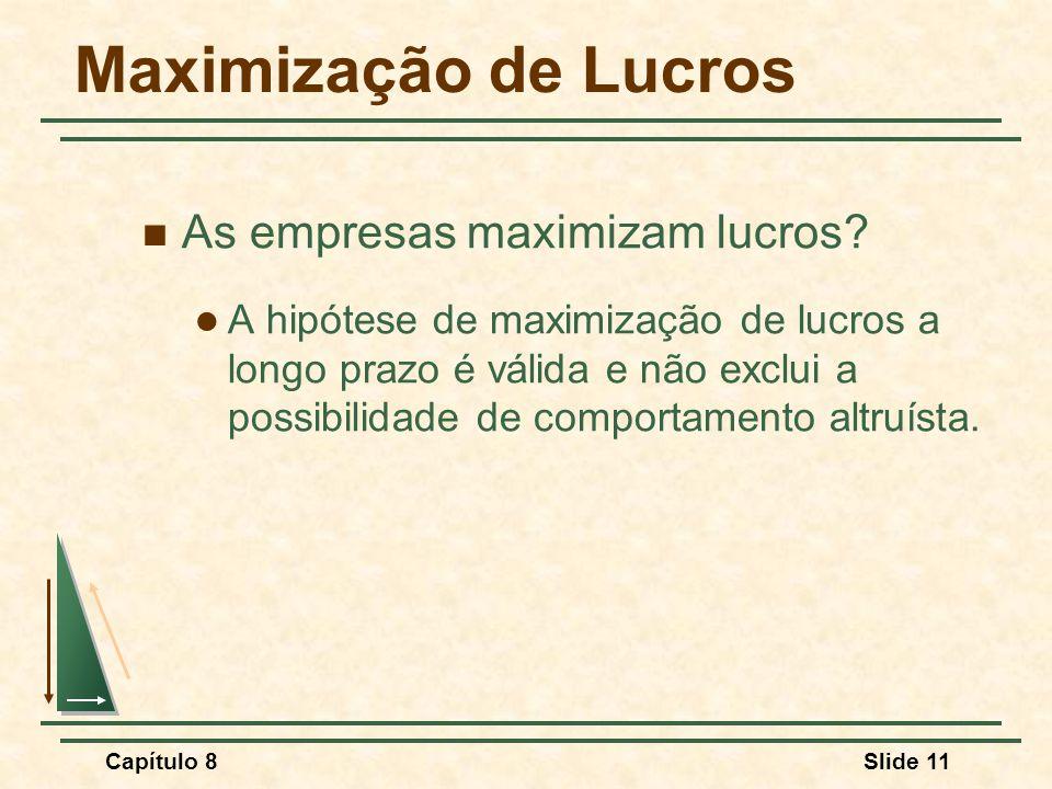 Capítulo 8Slide 11 Maximização de Lucros As empresas maximizam lucros.