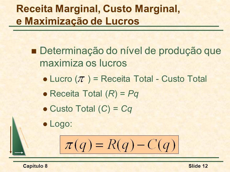 Capítulo 8Slide 12 Receita Marginal, Custo Marginal, e Maximização de Lucros Determinação do nível de produção que maximiza os lucros Lucro ( ) = Receita Total - Custo Total Receita Total (R) = Pq Custo Total (C) = Cq Logo:
