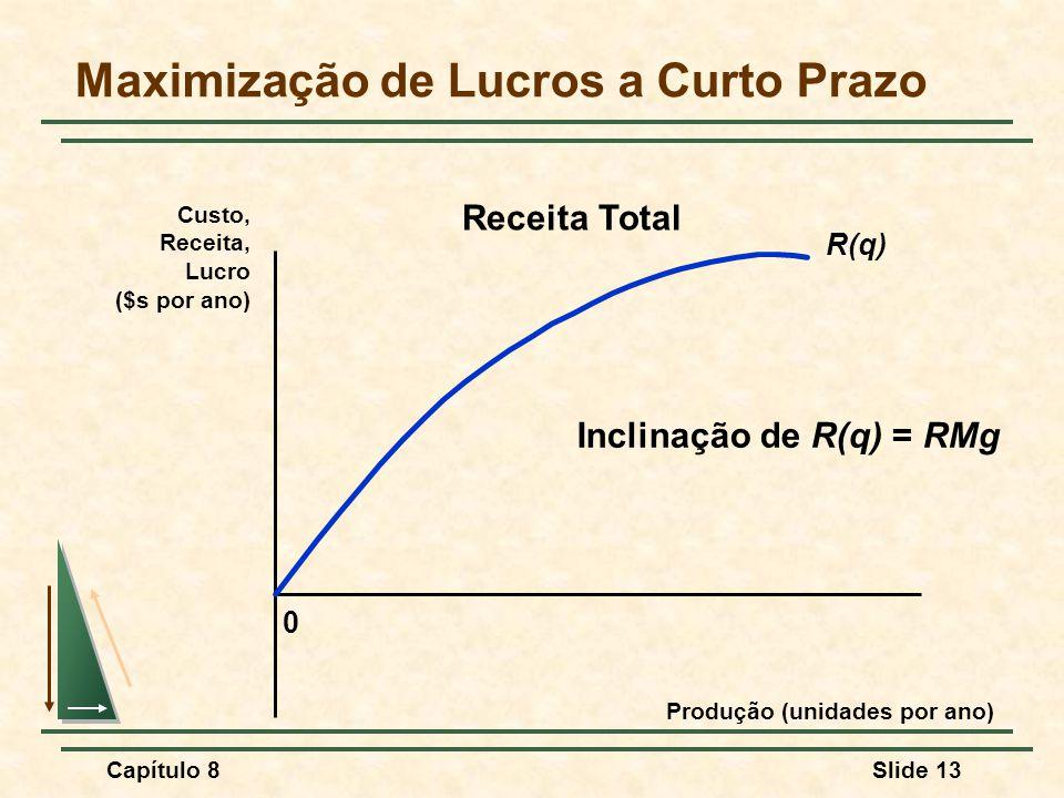 Capítulo 8Slide 13 Maximização de Lucros a Curto Prazo 0 Custo, Receita, Lucro ($s por ano) Produção (unidades por ano) R(q) Receita Total Inclinação de R(q) = RMg