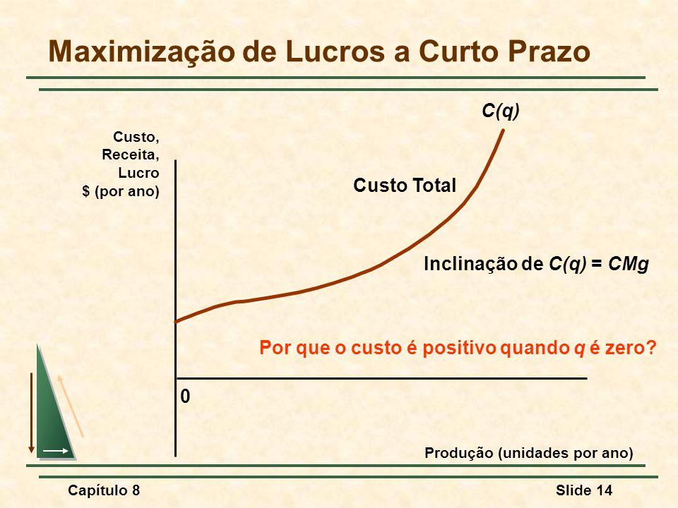 Capítulo 8Slide 14 0 Custo, Receita, Lucro $ (por ano) Produção (unidades por ano) Maximização de Lucros a Curto Prazo C(q) Custo Total Inclinação de C(q) = CMg Por que o custo é positivo quando q é zero?