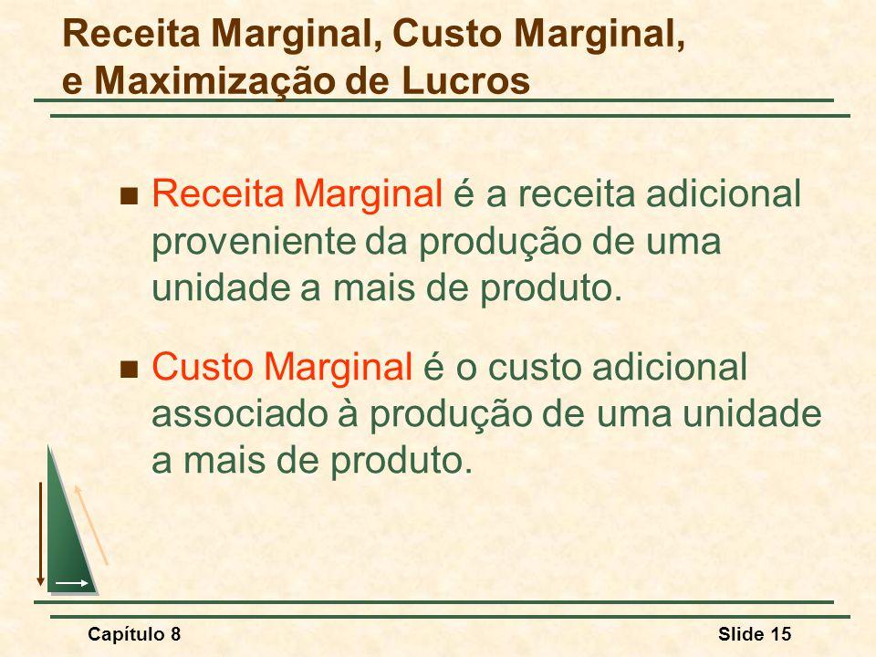Capítulo 8Slide 15 Receita Marginal é a receita adicional proveniente da produção de uma unidade a mais de produto.