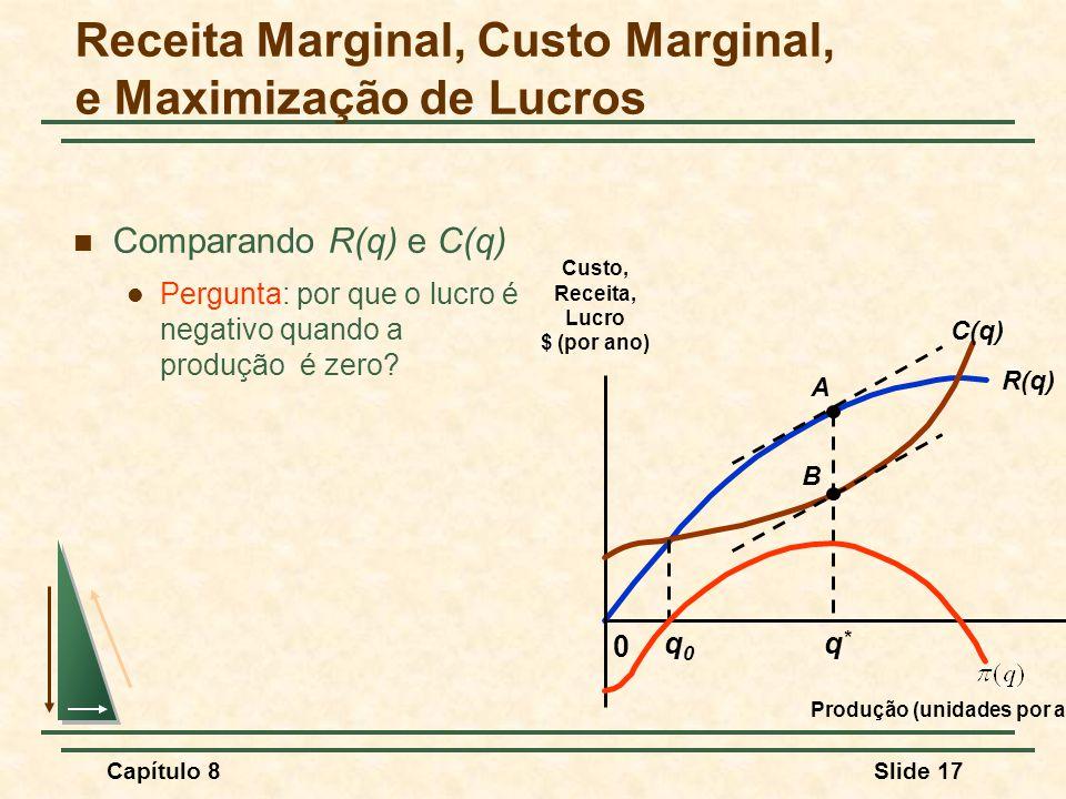 Capítulo 8Slide 17 Comparando R(q) e C(q) Pergunta: por que o lucro é negativo quando a produção é zero.