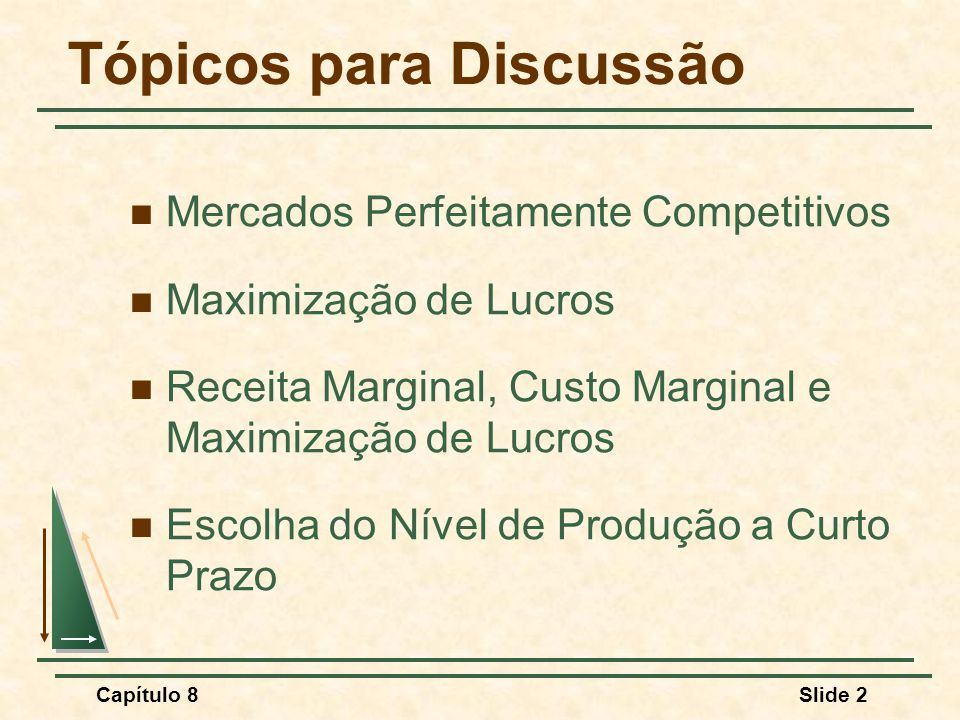 Capítulo 8Slide 2 Tópicos para Discussão Mercados Perfeitamente Competitivos Maximização de Lucros Receita Marginal, Custo Marginal e Maximização de Lucros Escolha do Nível de Produção a Curto Prazo