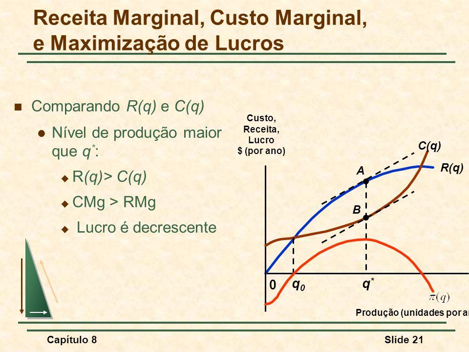 Capítulo 8Slide 21 Comparando R(q) e C(q) Nível de produção maior que q * : R(q)> C(q) CMg > RMg Lucro é decrescente Receita Marginal, Custo Marginal, e Maximização de Lucros R(q) 0 Custo, Receita, Lucro $ (por ano) Produção (unidades por ano) C(q) A B q0q0 q*q*