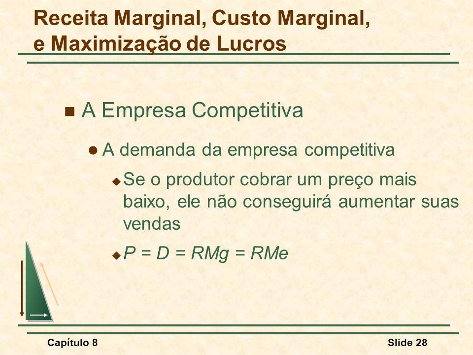 Capítulo 8Slide 28 A Empresa Competitiva A demanda da empresa competitiva Se o produtor cobrar um preço mais baixo, ele não conseguirá aumentar suas vendas P = D = RMg = RMe Receita Marginal, Custo Marginal, e Maximização de Lucros