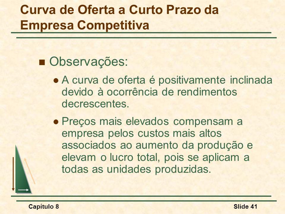 Capítulo 8Slide 41 Observações: A curva de oferta é positivamente inclinada devido à ocorrência de rendimentos decrescentes.